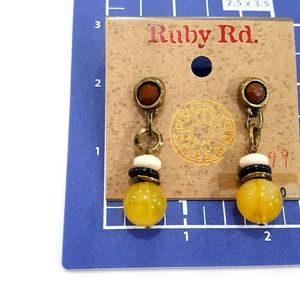 Ruby Rd. Jewelry - NWT Ruby Rd. Dangle Yellow Brown Beaded Earrings